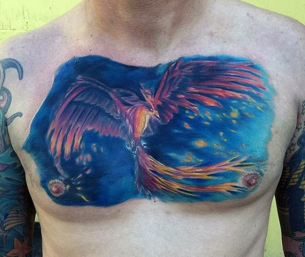 Cool Blue Chest Phoenix Tattoo Men