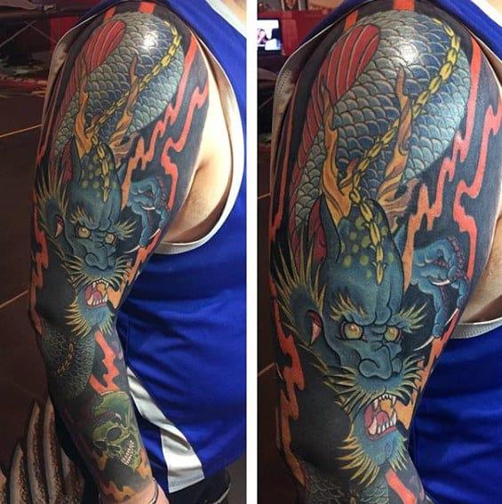 Cool Blue Dragon Full Arm Tattoo Designs For Gentlemen