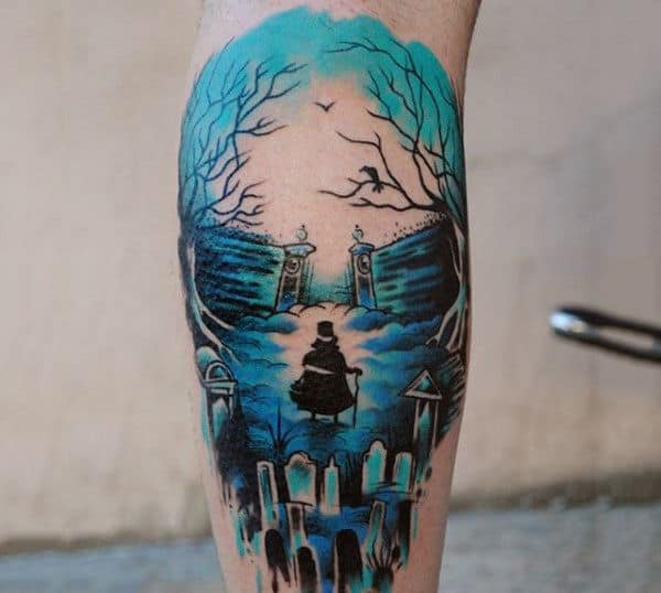 Cool Blue Hued Watercolor Tattoo On Legs For Men