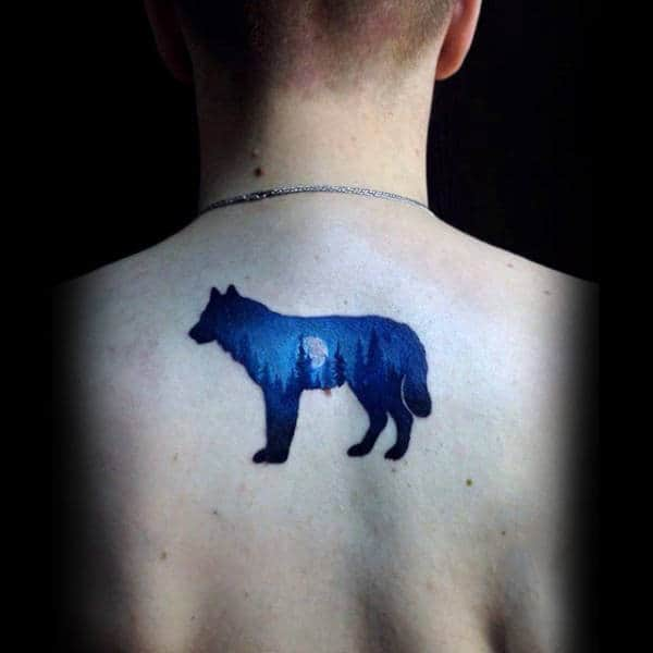 Cool Blue Ink Wolf Forest Mens Small Back Tattoo Ideas