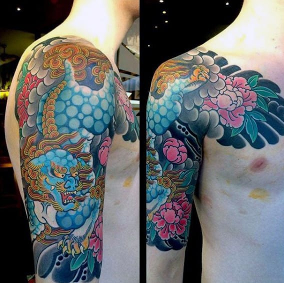 Cool Blue Japanese Sleeve Tattoo For Men
