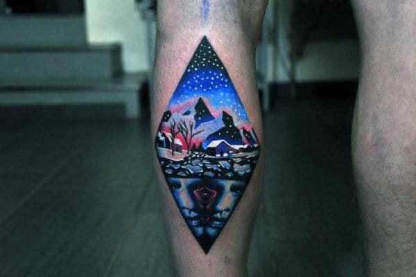 Cool Blue Night Tattoo Male Elbows