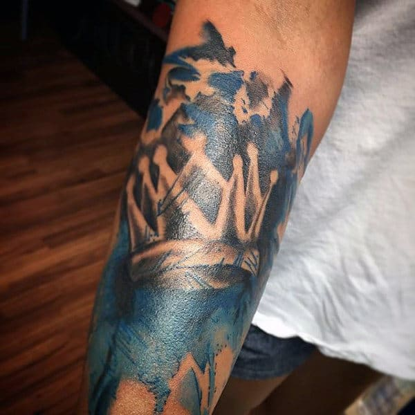 Cool Blue Royal Crown Tattoo On Forearms For Men