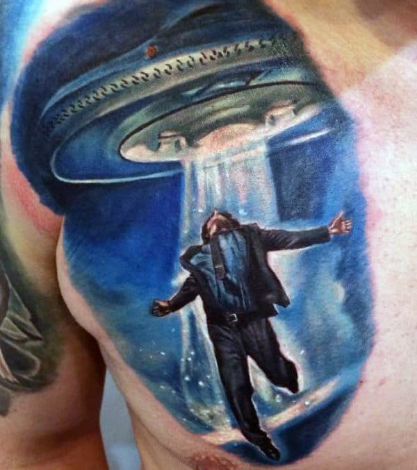 Cool Blue Ufo And Man In Suit Tattoo Male Chest