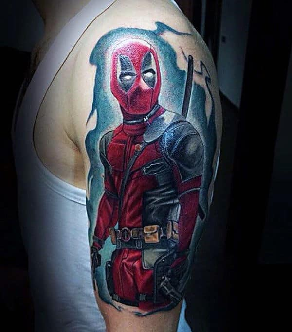 Cool Blue Watercolor Background Deadpool Half Sleeve Tattoos For Guys