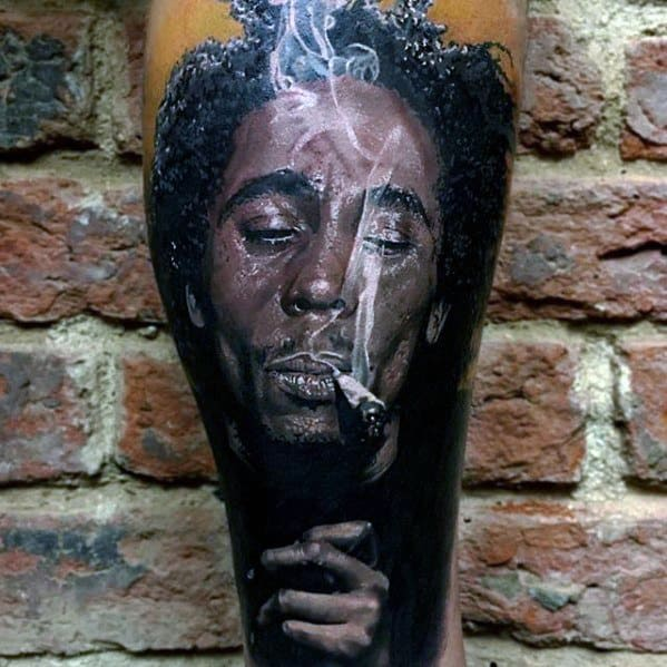 Cool Bob Marley Leg Sleeve Tattoo Design Ideas For Male