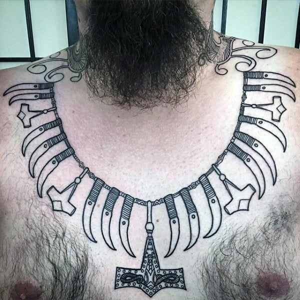 Cool Bone Necklace With Mjolnir Mens Upper Chest Tattoo Ideas