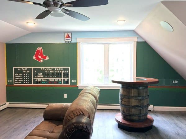 Cool Bonus Room Design Ideas Sports Themed Man Cave