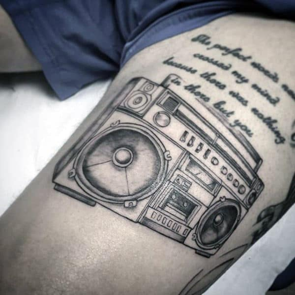 Cool Boombox With Quote Mens Thigh Tattoos