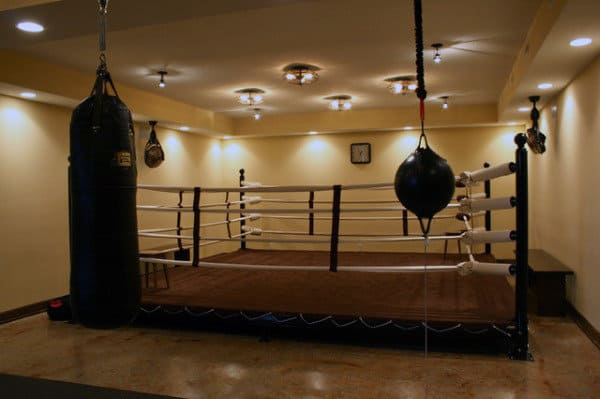 Cool Boxing Ring In Private Home Gym