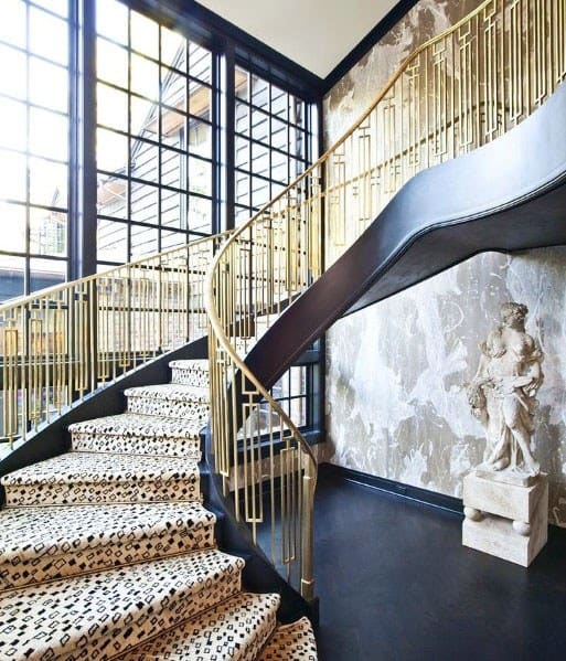 Cool Brass Metal Stair Railing Design Ideas