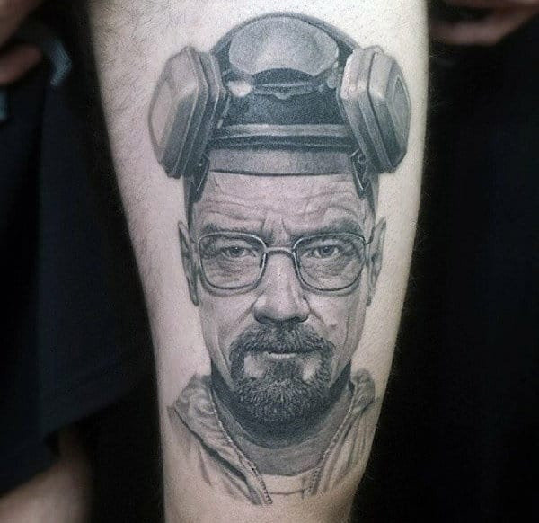 Cool Breaking Bad Mask Tattoo For Guys On Thigh