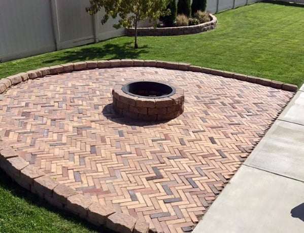 Cool Brick Patio Chevron Pattern Round Fire Pit In Center