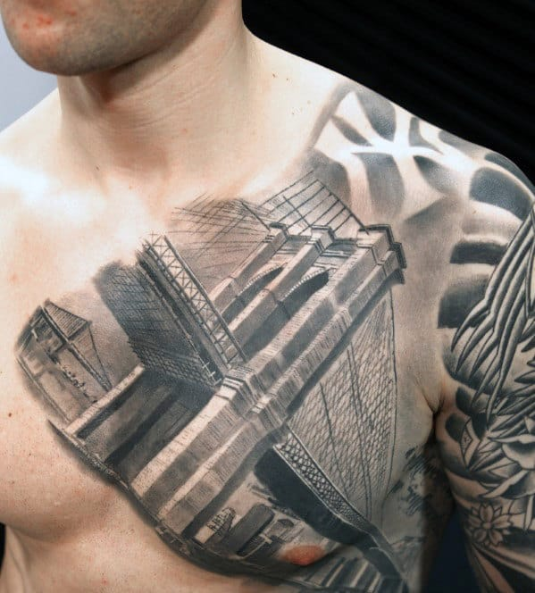 Cool Bridge Nyc Mens Shaded Upper Chest Tattoo Designs