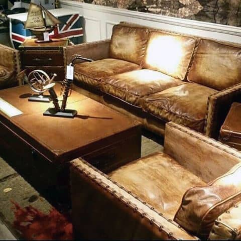 Nice Cool Brown Leather Man Cave Couches With Rivet Decor