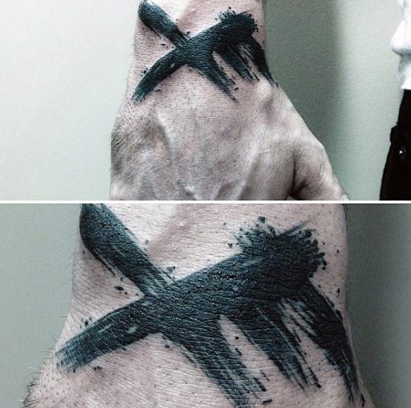 Cool Brush Stroke Mens Black Ink Hand Tattoos