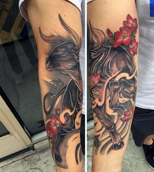 Red Cool Bull Designs For Men's Tattoos