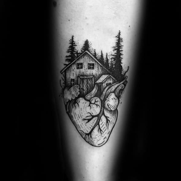Cool Cabin On Top Of Heart Mens Forearm Tattoo