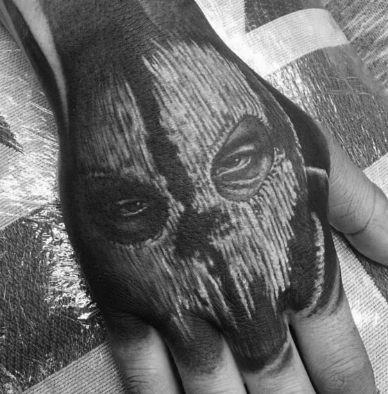 Cool Call Of Duty Ghost White And Black Ink Tattoos For Men On Hand