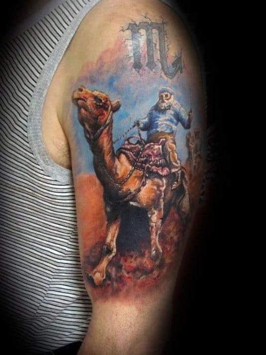 Cool Camel Rider Mens Half Sleeve Tattoo Designs