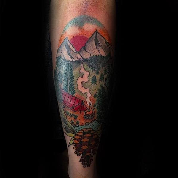 Cool Camping Forearm Tattoo Design Ideas For Male