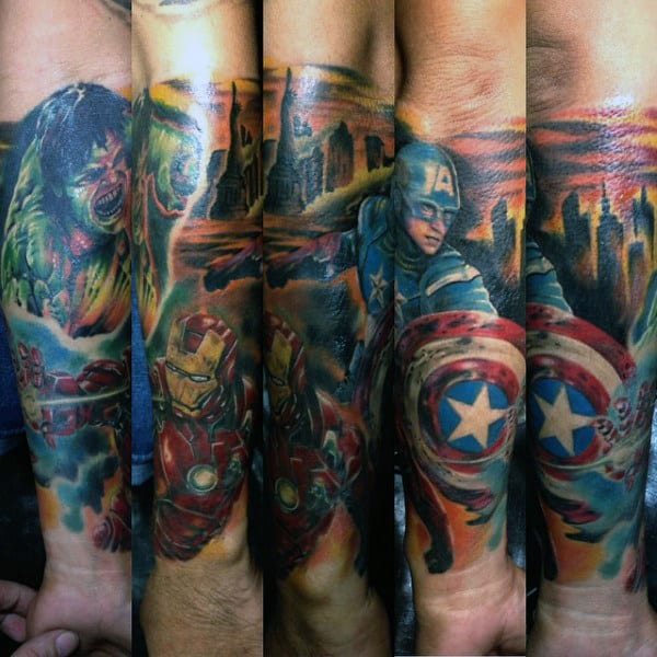 Cool Captain America Forearm Sleeve Guys Tattoos