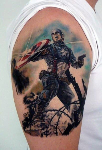 Cool Captain America Shield Mens Arm Tattoo