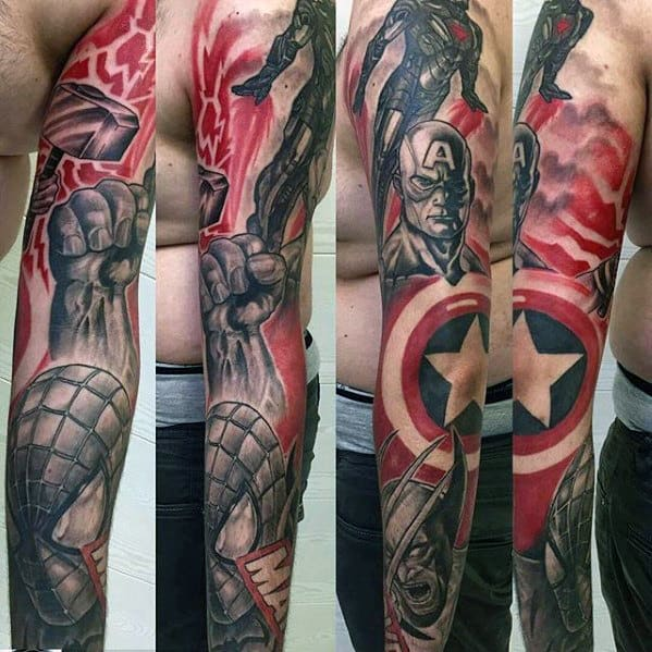 Cool Captain America With Spiderman Guys Marvel Full Sleeve Tattoos