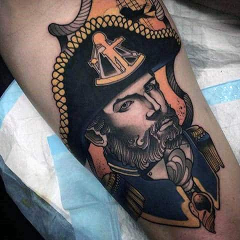 Cool Captain Neo Traditional Tattoo Mens Arms