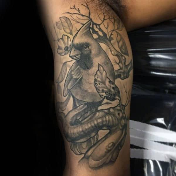 Cool Cardinal Bird On Tree Branch Grey Shaded Ink Mens Arm Tattoos