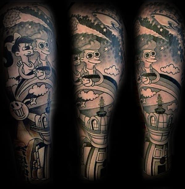 Cool Cartoon Style Mens Futurama Sleeve Tattoos