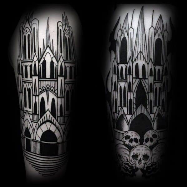 Cool Cathedral Tattoo Design Ideas For Male