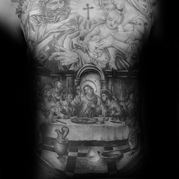 Cool Catholic Last Supper Guys Religious Full Chest Tattoos