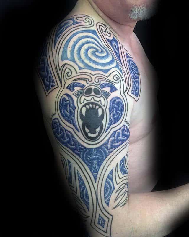 Cool Celtic Bear Claw Mens Half Sleeve Tattoos