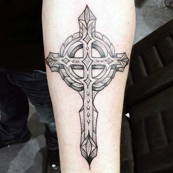 Cool Celtic Cross With Modern Design Tattoo For Guys Inner Forearms