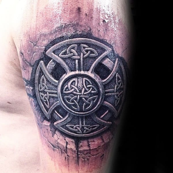 Cool Celtic Knot Stone Male Arm Tattoo