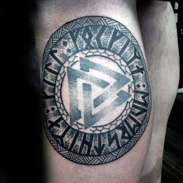 Cool Celtic Symbol Rune Viking Mens Thigh Tattoo Ideas
