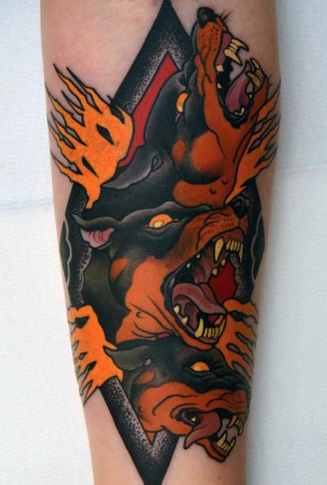 Cool Cerberus Flaming Mens Forearm Tattoos