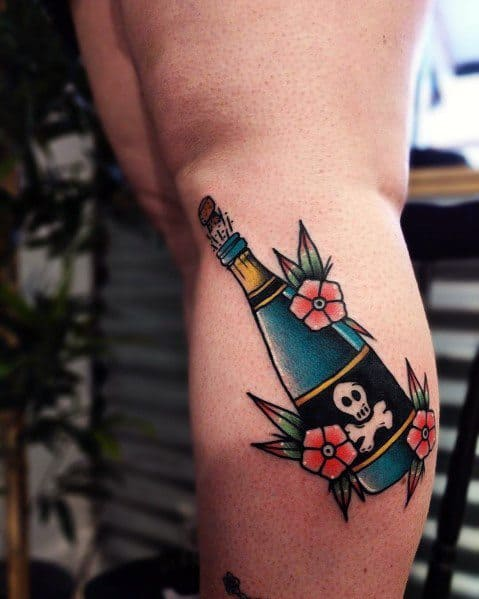 Cool Champagne Tattoos For Men