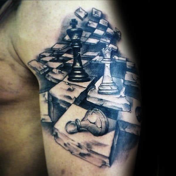 Cool Checkered Chess Board With King Piece Mens Arm Tattoos