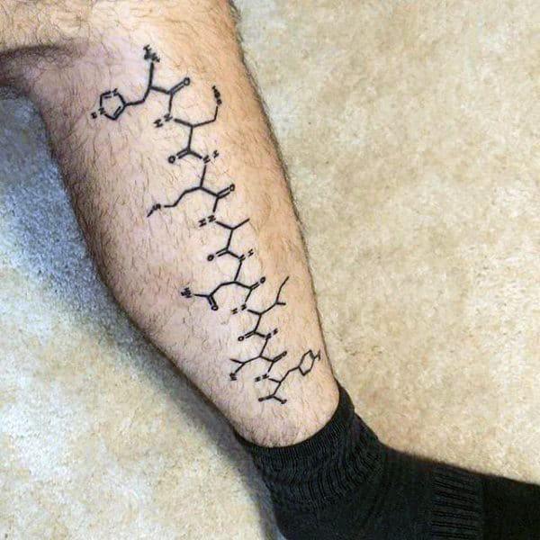 Cool Chemistry Compound Mens Black Ink Leg Tattoo