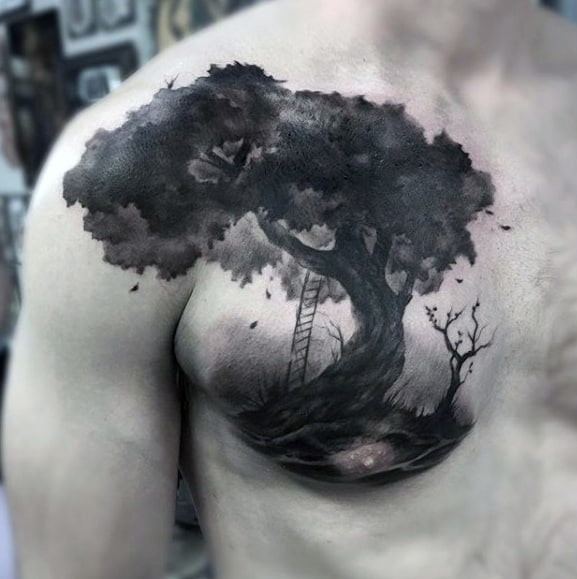 Cool Chest Guys Watercolor Tree Tattoo Ideas