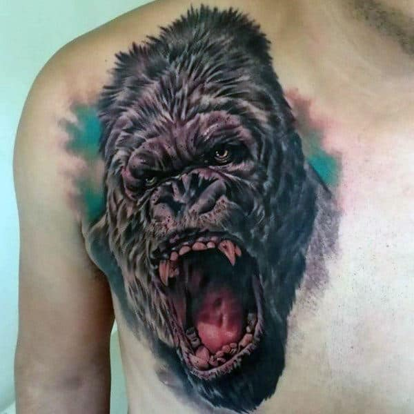 Cool Chest Tattoo Of Roaring Gorilla For Males