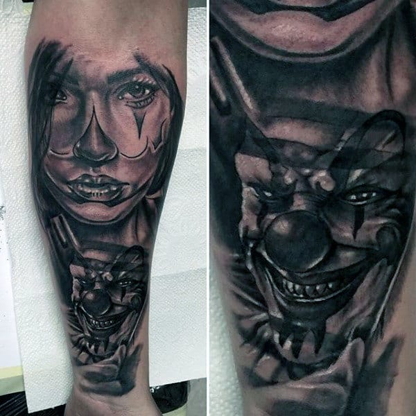 Cool Chicano Style Mens Clown Themed Inner Forearm Tattoos