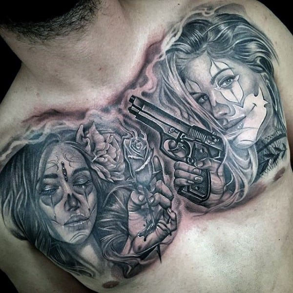 Cool Chicano Upper Chest Tattoos For Gentlemen