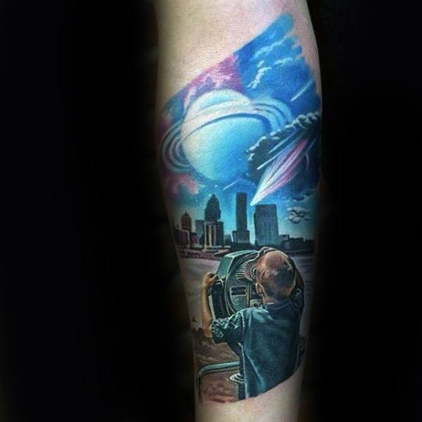 Cool Child Looking Through Telescope At City Skyline Inner Forearm Tattoo Design Ideas For Male