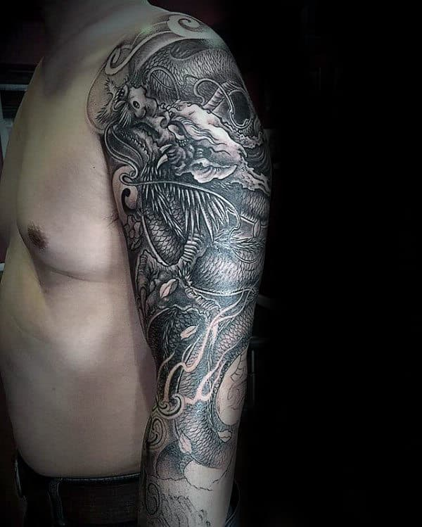 Cool Chinese Dragon Half Sleeve Tattoo On Man
