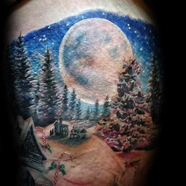 Cool Christmas Tree Tattoos For Men