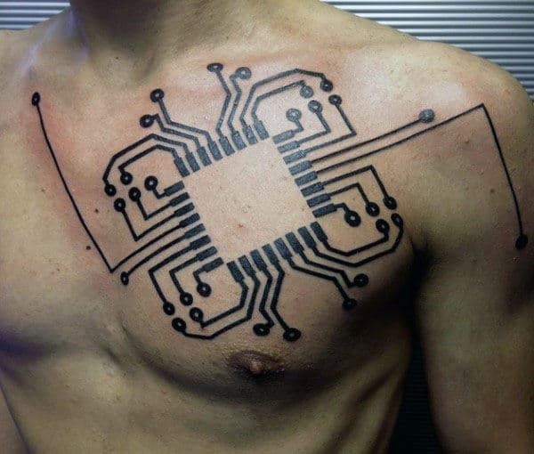 Cool Circuit Board Mens Masculine Chest Tattoos