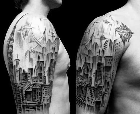 Cool City Buildings Mens Skyline Half Sleeve Tattoos